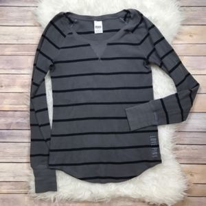 Victoria's Secret PINK Striped Thermal Waffle Top